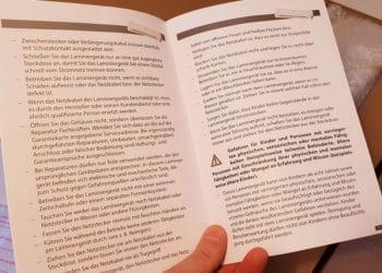 Die Anleitung vom Zoomyo A3  Laminiergerät fällt üppig aus. Das Gerät ist jedoch eigentlich selbsterklärend.